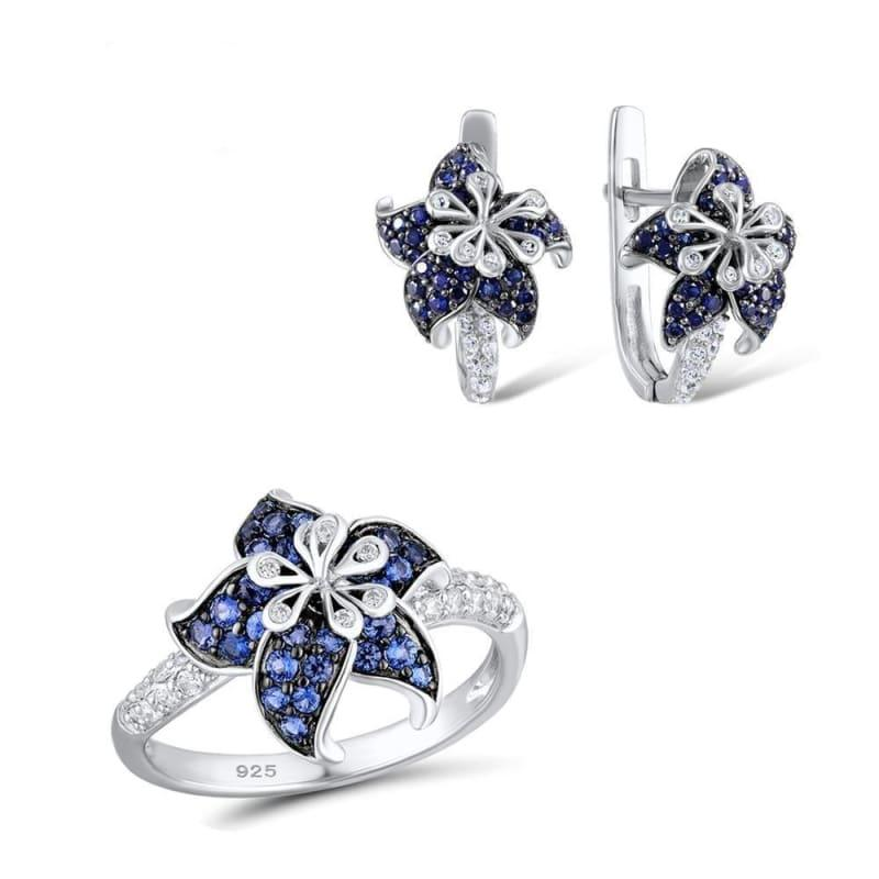 Blue White CZ Ring Earrings Set Authentic 100% 925 Sterling Silver Fashion Jewelry Set - 6 - Jewelry Set