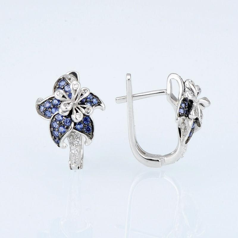 Blue White CZ Ring Earrings Set Authentic 100% 925 Sterling Silver Fashion Jewelry Set - Jewelry Set