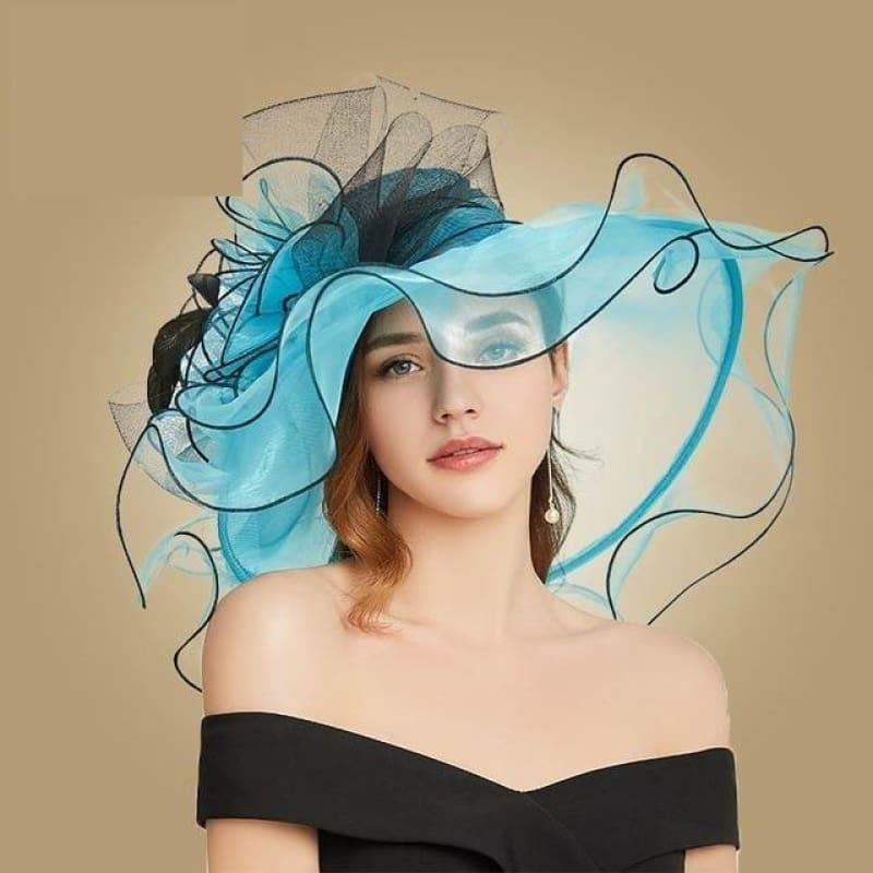Blue Wide Brim Big Floral Organza Tea Party Hat Elegant Summer Kentucky Derby Hat - Blue / 56-58CM - hats