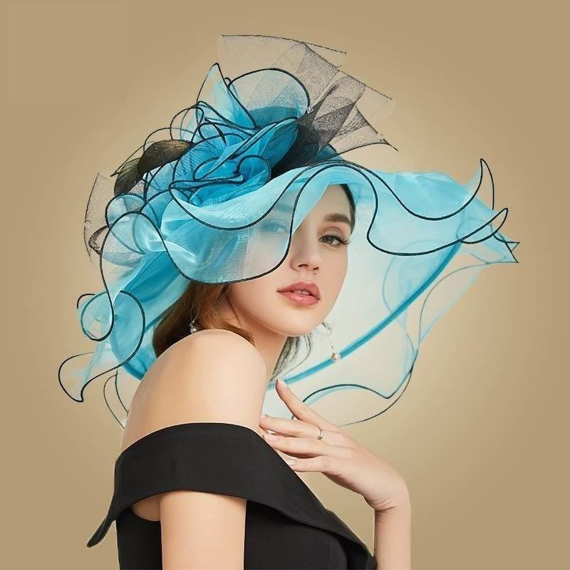 Blue Wide Brim Big Floral Organza Tea Party Hat Elegant Summer Kentucky Derby Hat - hats