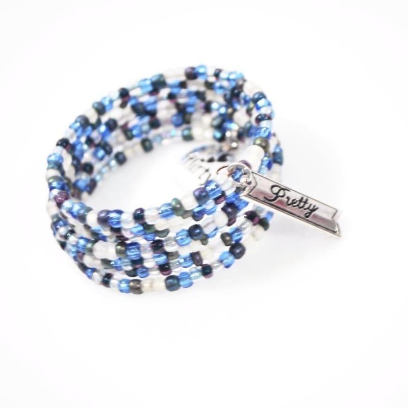 Blue Winter Memory Charms Steel Wrap Around Bracelets - Handmade