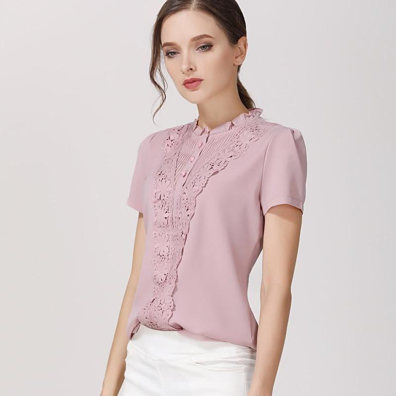 Blush Color Chiffon Short Sleeve Blouse - TeresaCollections