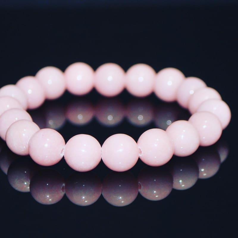 Blush Color Natural Jade Unisex Bracelets - Handmade