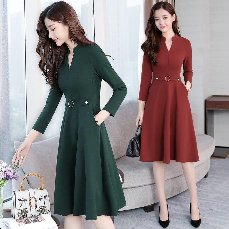 Bodycon V-Neck Long Sleeve Runway Midi Dress - TeresaCollections