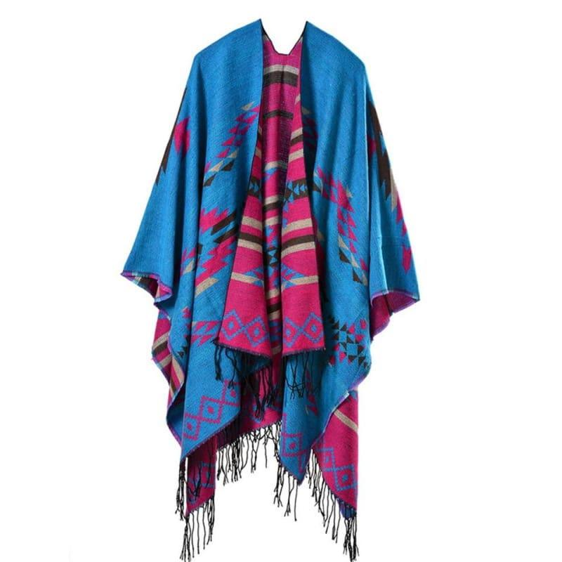 Bohemian Winter Poncho Ethnic Scarf - TeresaCollections