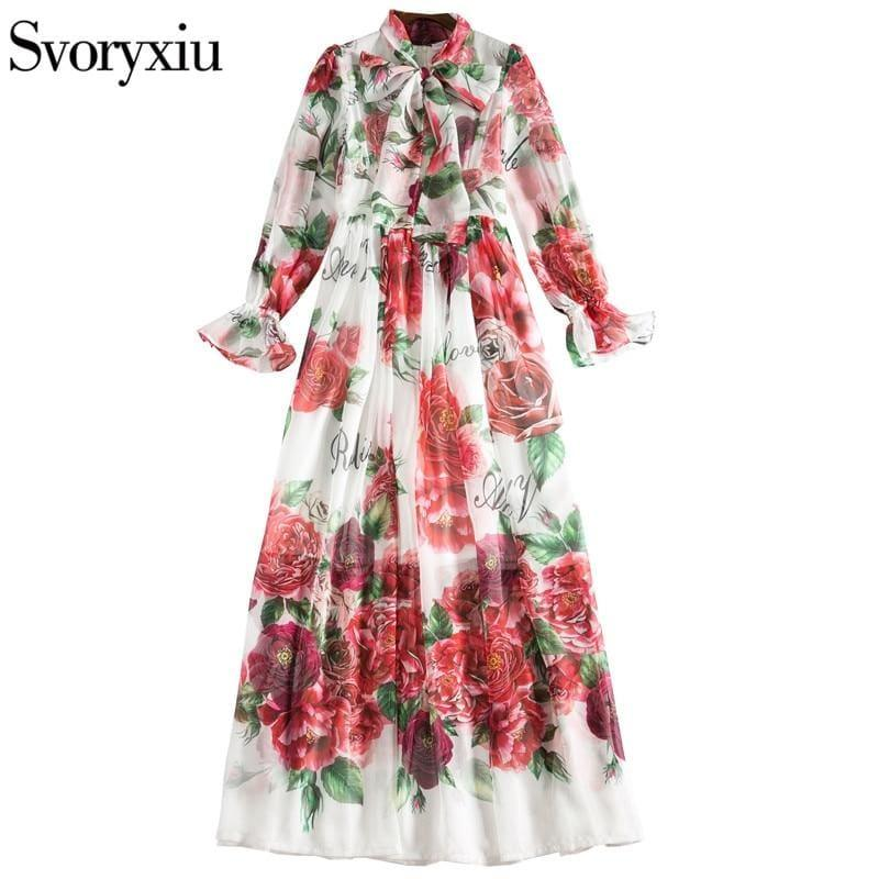 Boho Maxi Dress Women's Elegant Dress Bow Collar Floor-Length Maxi Dress - TeresaCollections