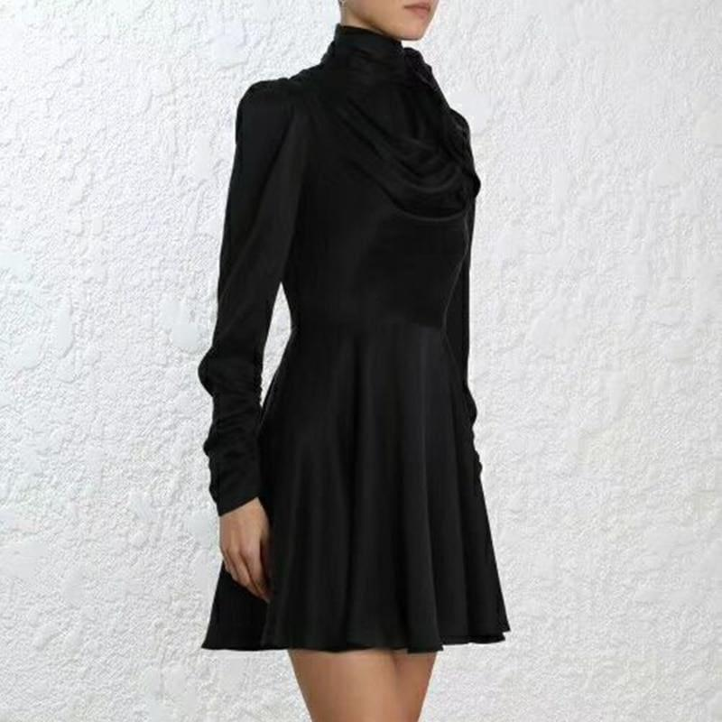 Bow Collar High Waist Lace Up Streetwear Fashion Long Sleeve Mini Dress - TeresaCollections