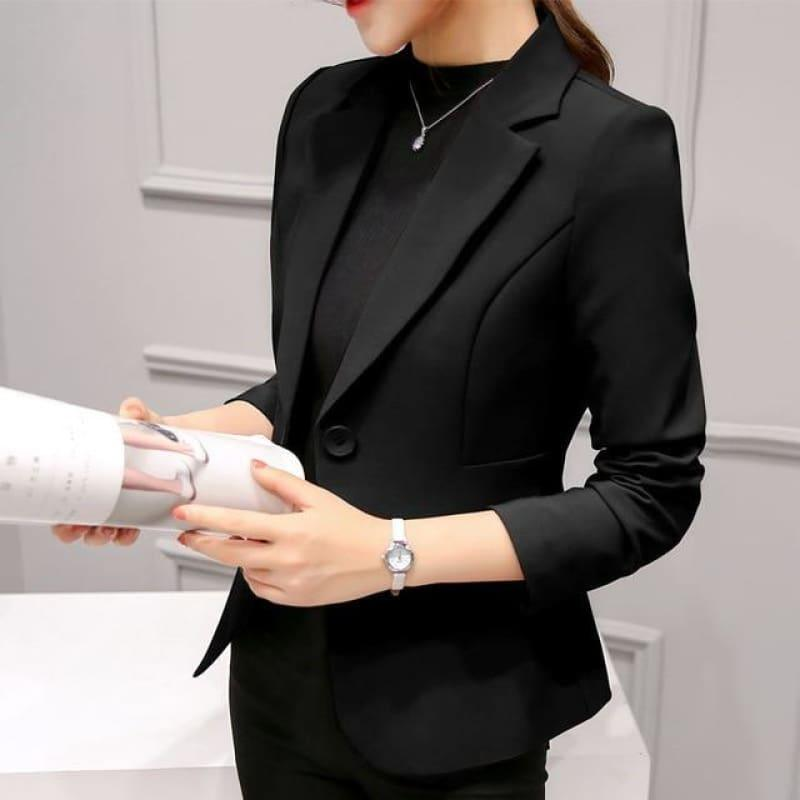 Boyfriend Slim Fit Women Formal Jackets Office Work Suit Open Front Jacket - Black / L - Jacket