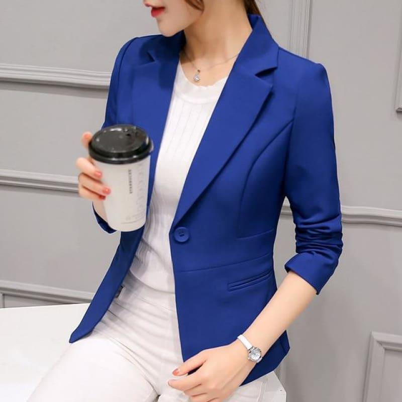 Boyfriend Slim Fit Women Formal Jackets Office Work Suit Open Front Jacket - Blue / L - Jacket