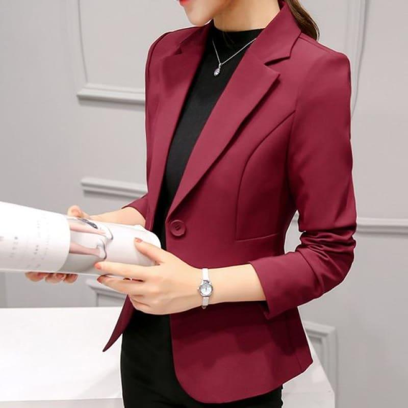 Boyfriend Slim Fit Women Formal Jackets Office Work Suit Open Front Jacket - Brown / L - Jacket