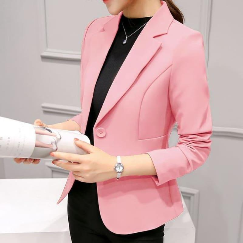 Boyfriend Slim Fit Women Formal Jackets Office Work Suit Open Front Jacket - Pink / L - Jacket
