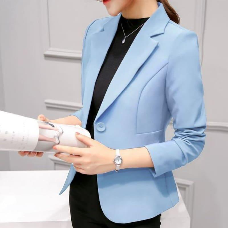 Boyfriend Slim Fit Women Formal Jackets Office Work Suit Open Front Jacket - Sky Blue / L - Jacket