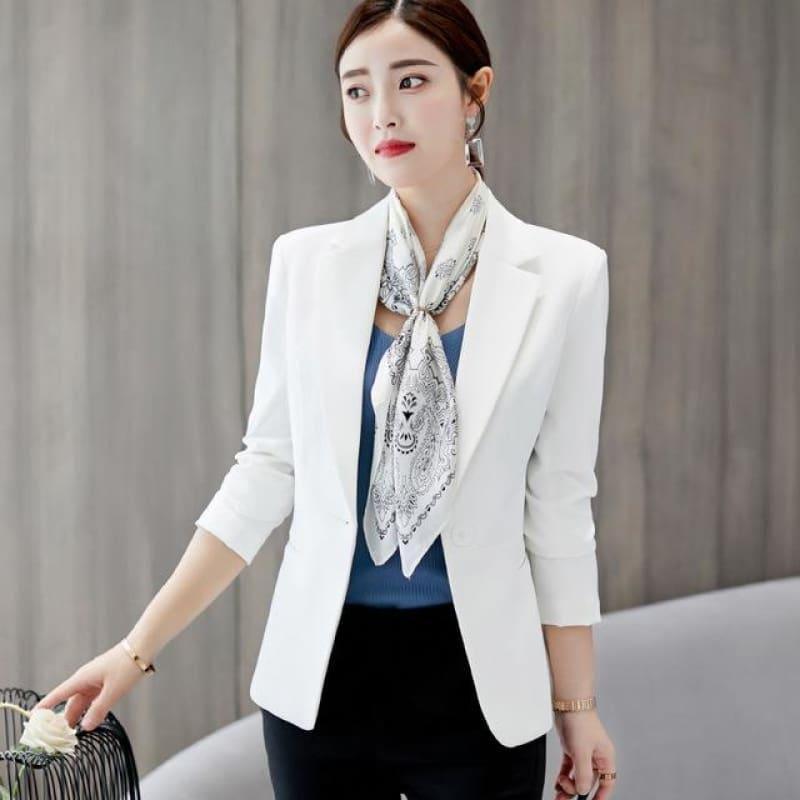 Boyfriend Slim Fit Women Formal Jackets Office Work Suit Open Front Jacket - White / L - Jacket