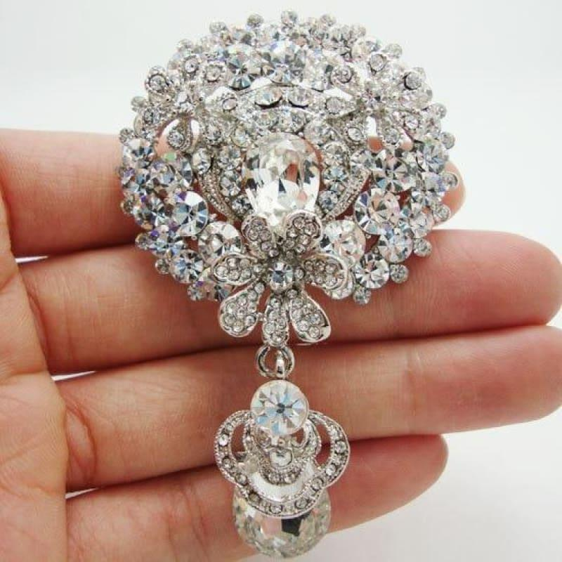 Bride 3 Flower Cluster Drop Bridesmaid Wedding Pendant Brooch Pin Clear Rhinestone Crystal - Default title - brooch