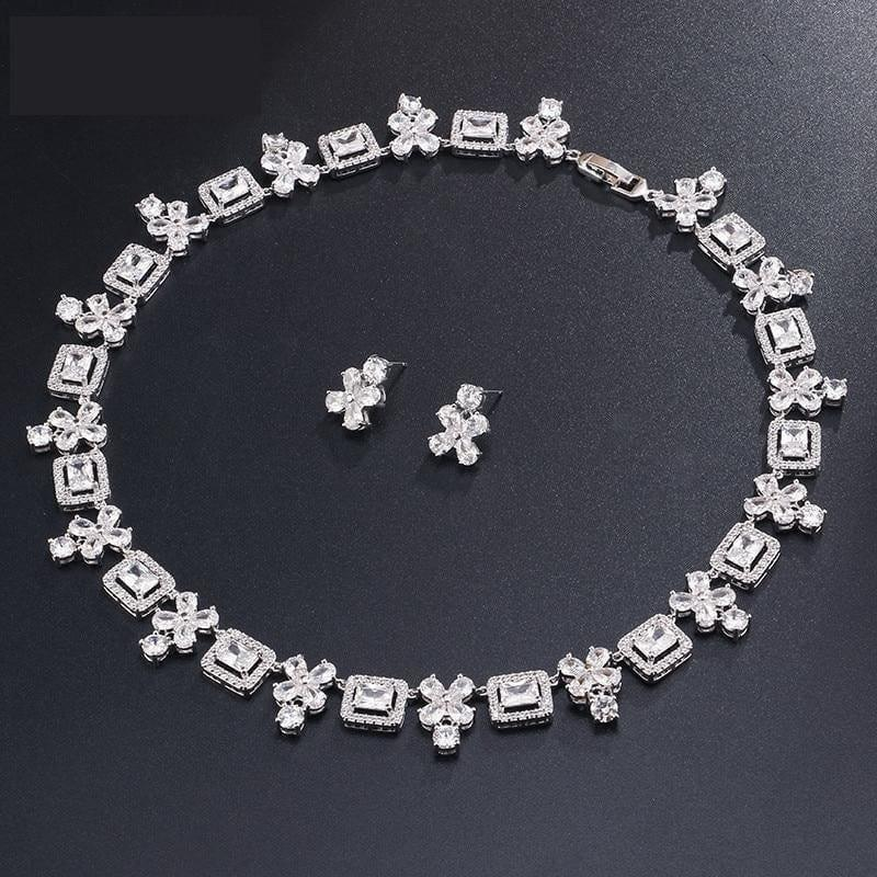 Brilliant Square & Flower Zirconia Earring Necklace Bridal Jewelry Sets - White - jewlery set