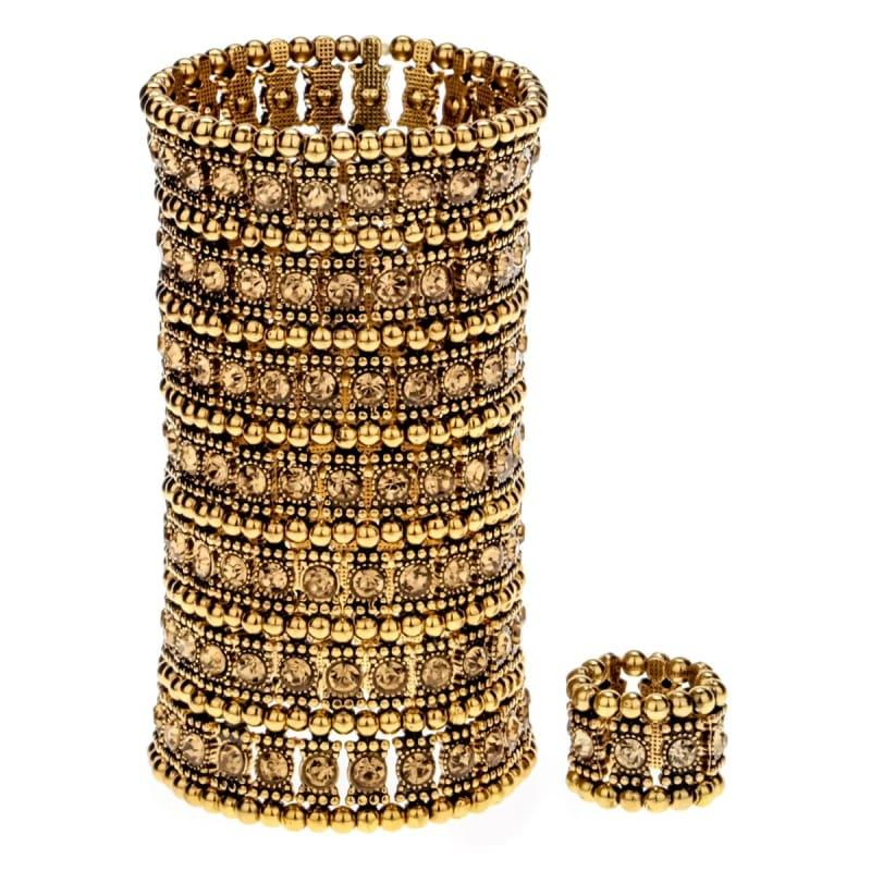 Bronze Crystal Multilayer Stretch Cuff Bracelet Ring Sets - bracelets