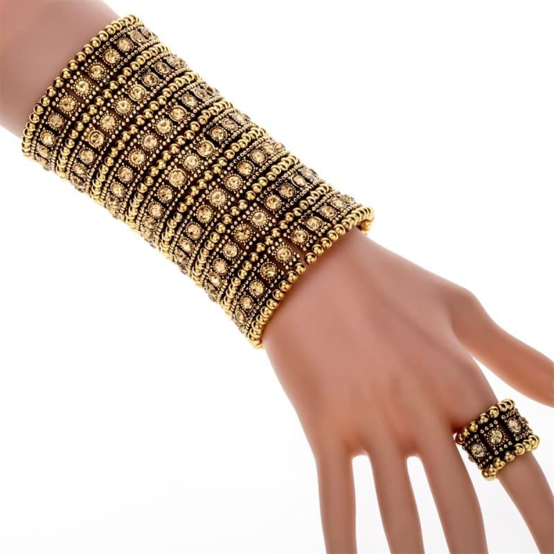 Bronze Crystal Multilayer Stretch Cuff Bracelet Ring Sets - TeresaCollections