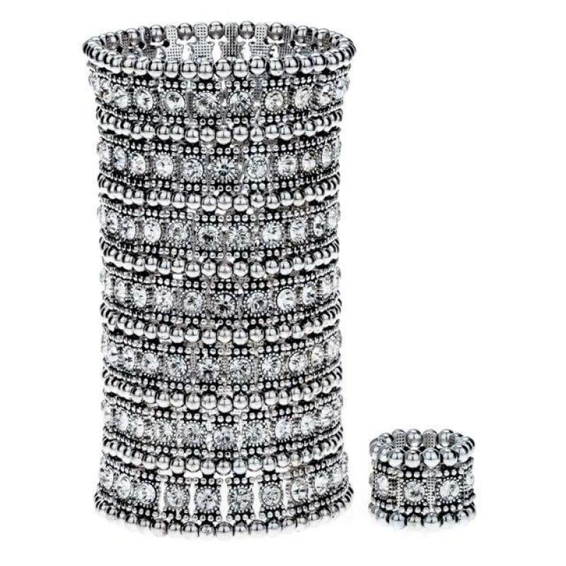 Bronze Crystal Multilayer Stretch Cuff Bracelet Ring Sets - silver / China - bracelets