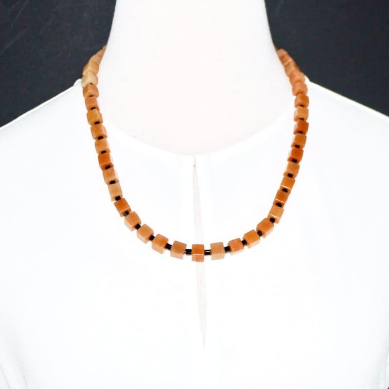 Brown and Black Square Unisex Necklace - Handmade