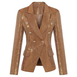 Brown Designer Blazer Women's Lion Metal Buttons Double Breasted Blazer Jacket - TeresaCollections