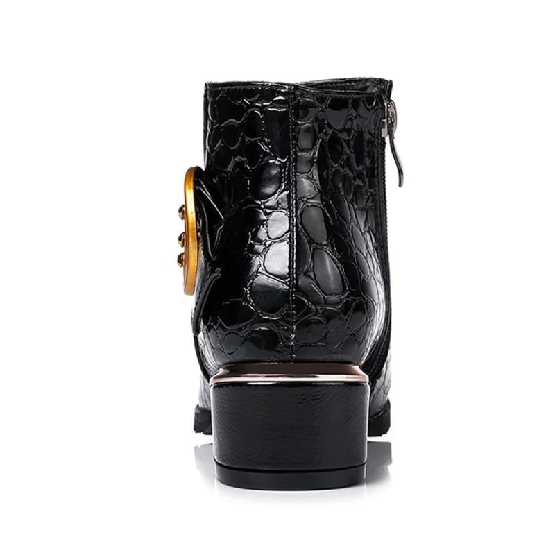 Buckle Square Heel Short Boots Zipper Ankle Booties - TeresaCollections