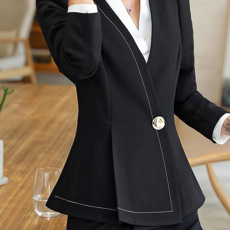 Business Formal Pant Suit V-Neck Jacket and Bell-bottom Trousers Suit - TeresaCollections