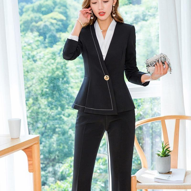 Business Formal Pant Suit V-Neck Jacket and Bell-bottom Trousers Suit - Suits