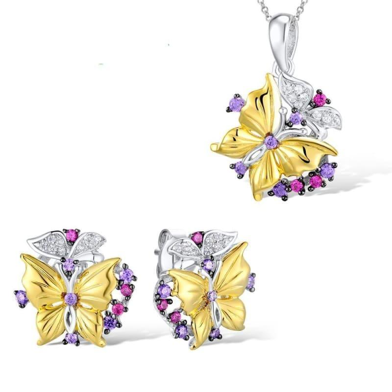 Butterfly Created Red Stones Earrings Pendant Necklace 925 Sterling Silver Fashion Jewelry Set - jewelry set
