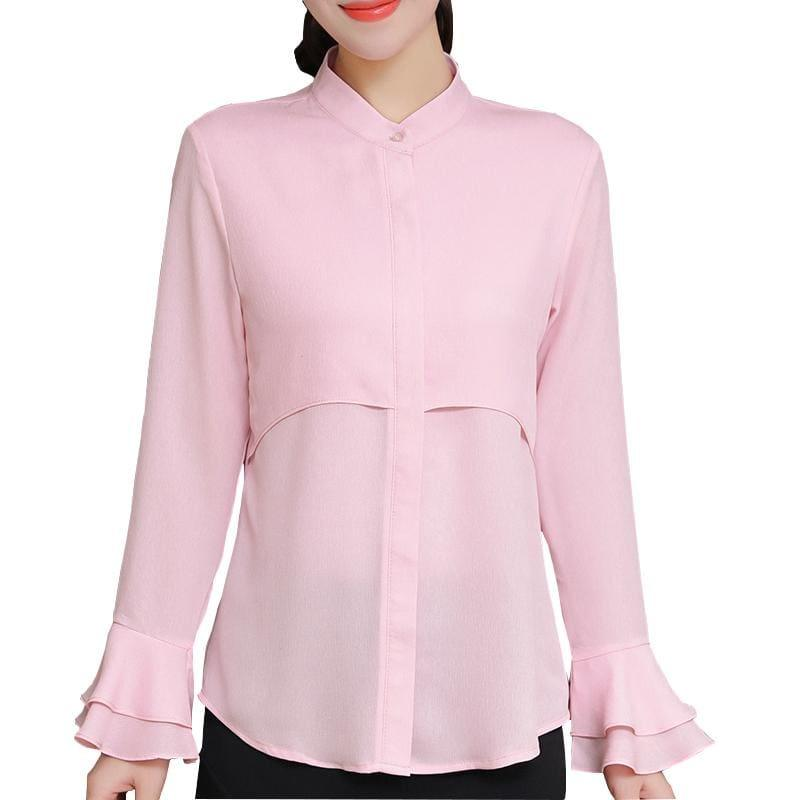 Butterfly Sleeve Chiffon Women Shirts Blouse - TeresaCollections