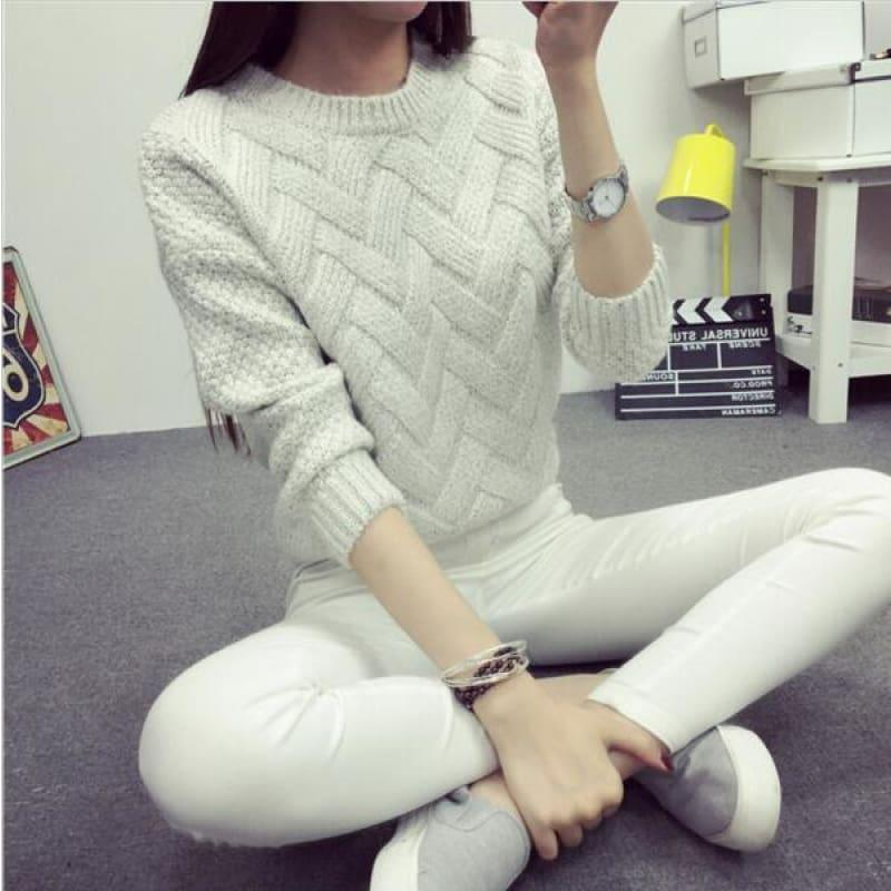 Cable Pullover Female Casual Plaid Sweater - Beige / One Size - women Sweater