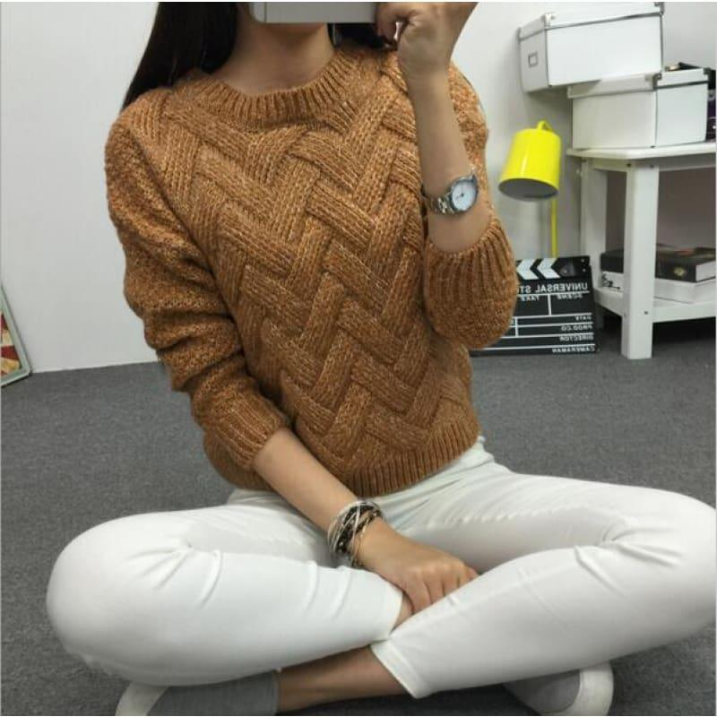 Cable Pullover Female Casual Plaid Sweater - Brown / One Size - women Sweater