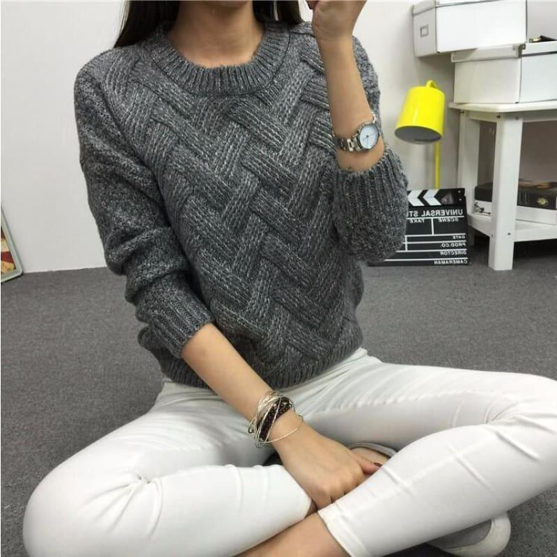 Cable Pullover Female Casual Plaid Sweater - Dark Grey / One Size - women Sweater