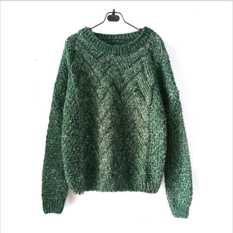 Cable Pullover Female Casual Plaid Sweater - Green / One Size - women Sweater