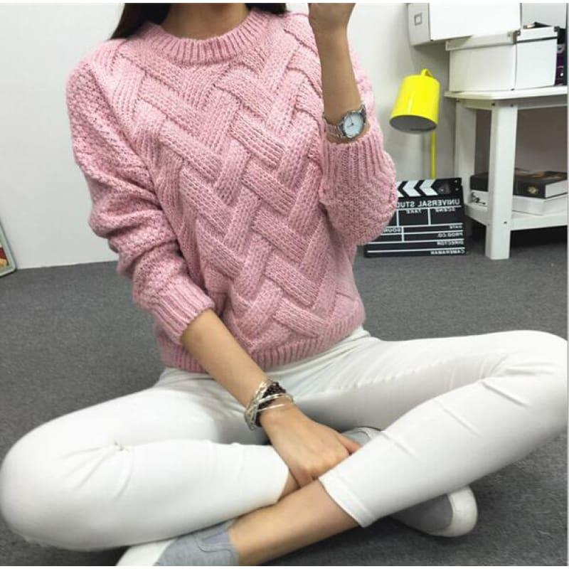 Cable Pullover Female Casual Plaid Sweater - Pink / One Size - women Sweater