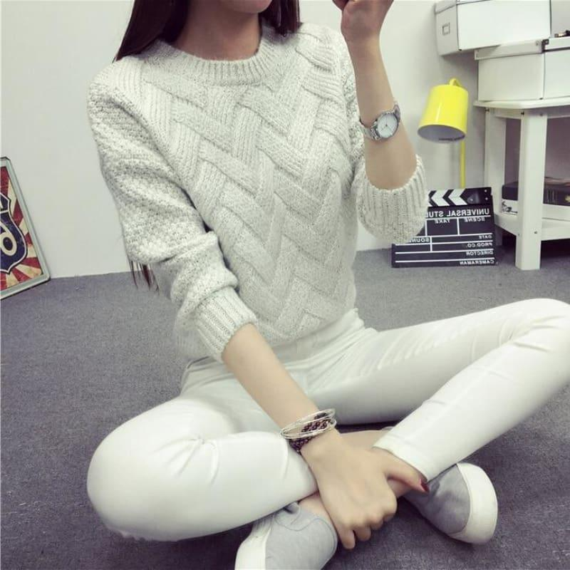 Cable Pullover Female Casual Plaid Sweater - women Sweater