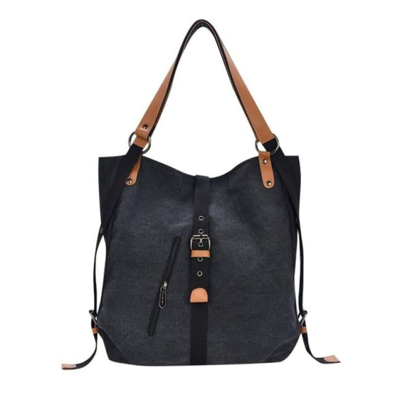 Canvas Retro Vintage Messenger Bag - Black - backpacks