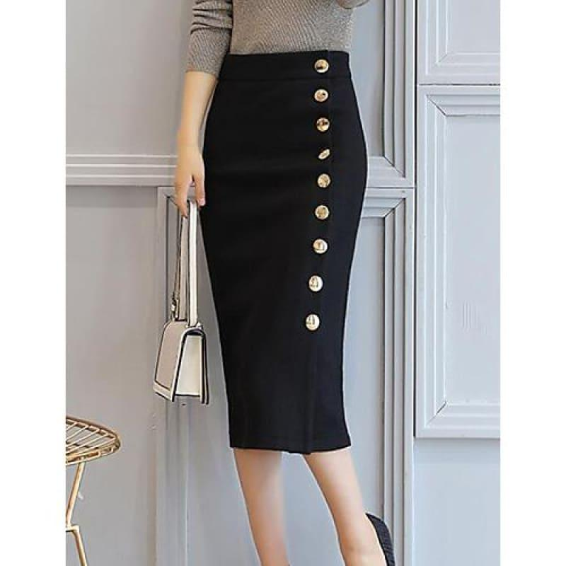 Casual Cotton A Line Side Button Midi Skirts - Black / S - Skirts