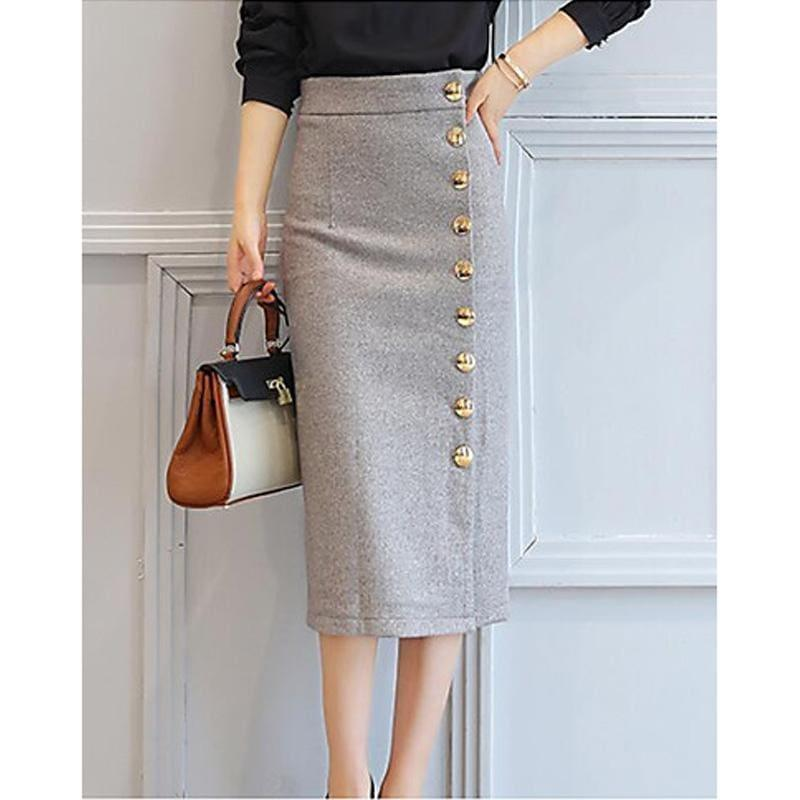 Casual Cotton A Line Side Button Midi Skirts - Grey / S - Skirts