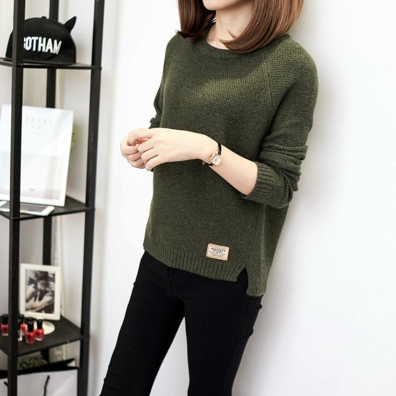 Casual Pullover Long Sleeve Knitted Sweater - Army Green / L - women Sweater