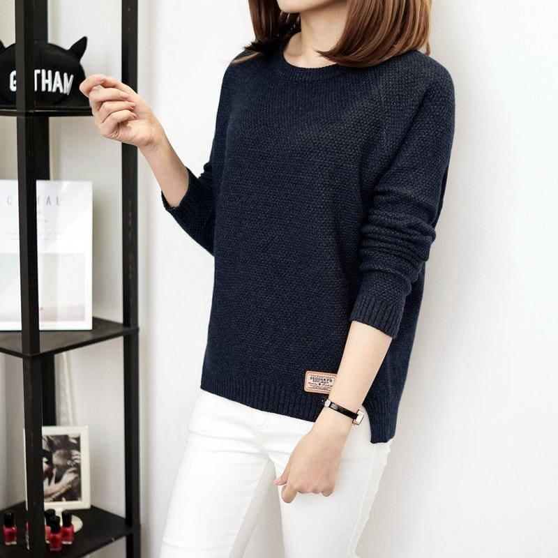 Casual Pullover Long Sleeve Knitted Sweater - Blue / L - women Sweater