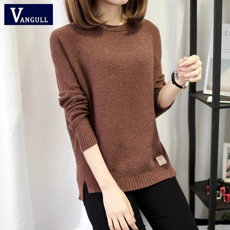Casual Pullover Long Sleeve Knitted Sweater - Brown / L - women Sweater