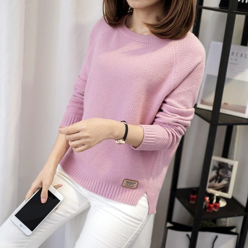 Casual Pullover Long Sleeve Knitted Sweater - Pink / L - women Sweater