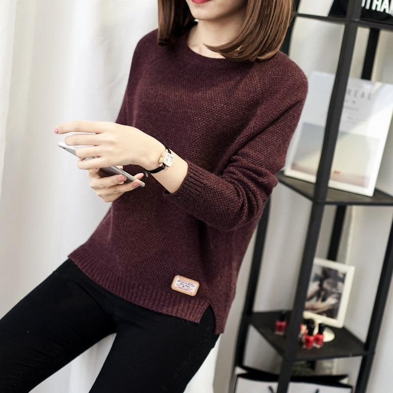 Casual Pullover Long Sleeve Knitted Sweater - Wine Red / L - women Sweater
