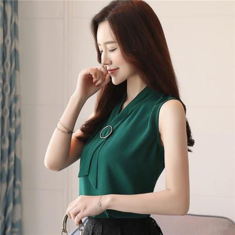 Casual Sleeveless Elegant Chiffon Blouse - Green / L - Sleeveless