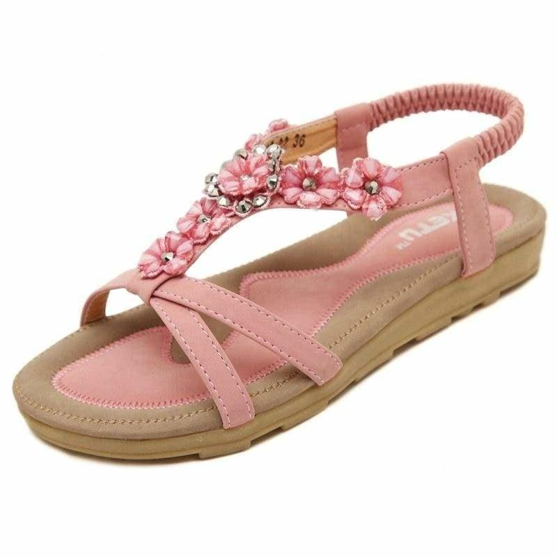 Casual Thong Sandals Floral Rhinestone Designer Elastic Band Ladies Gladiator Sandal - Pink / 4 - sandals