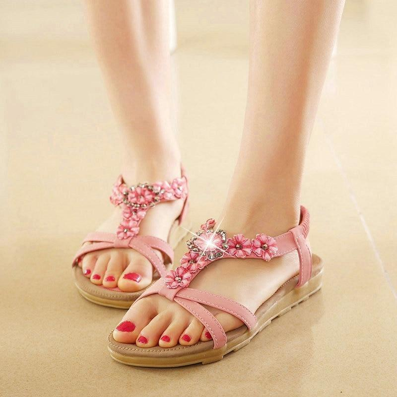 Casual Thong Sandals Floral Rhinestone Designer Elastic Band Ladies Gladiator Sandal - sandals