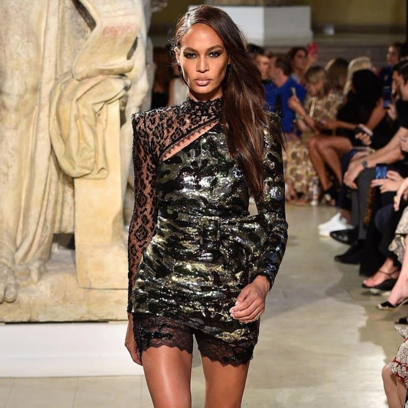 Celebrity Runway Party Dress Sexy Long Sleeve Sequin Lace Hollow Out Mini Dress - Mini dress