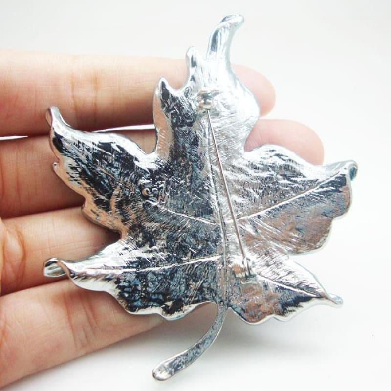 Charming Blue Maple Leaf Rhinestone Crystal Woman Brooch Pin Silver Tone - brooch