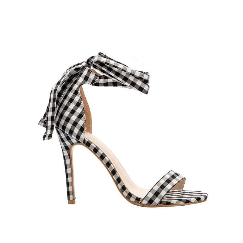 Checkered Plaid Cross-Tied Heels Ladies Ankle Strap High Sandals - Black / 5.5 - Sandals