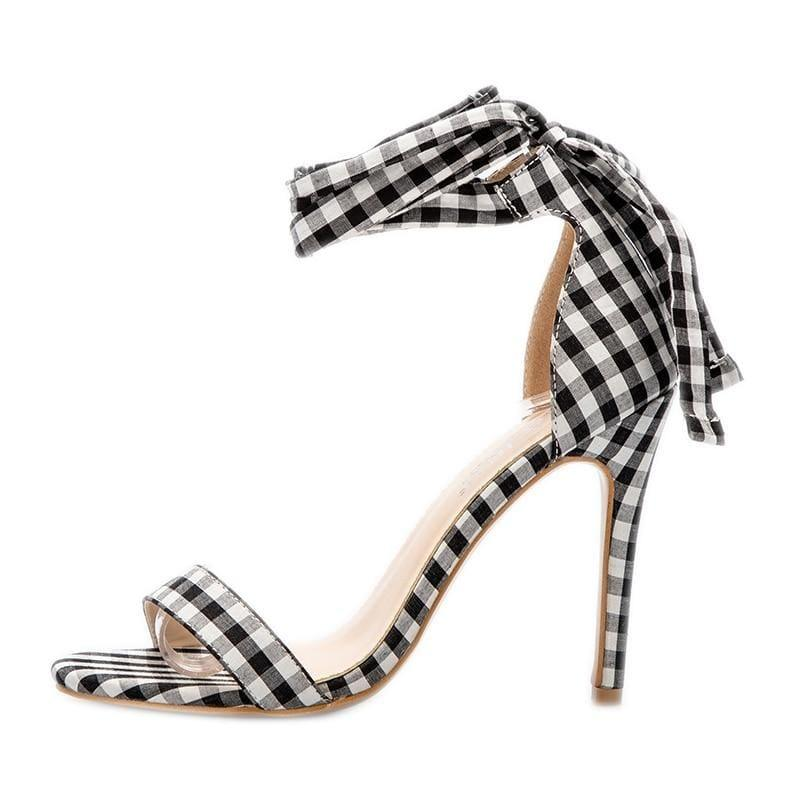 Checkered Plaid Cross-Tied Heels Ladies Ankle Strap High Sandals - Sandals